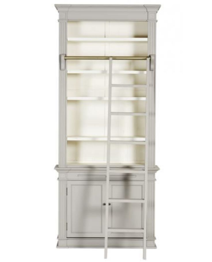 Excellent Ladder Style Bookcase Design Ideas With Percier French Country White Single Library Bookcase With Ladder  And Cherry Wood Material Library Bookcase And Double Doors With Shelf Inside Together With Iron Rail Ladder