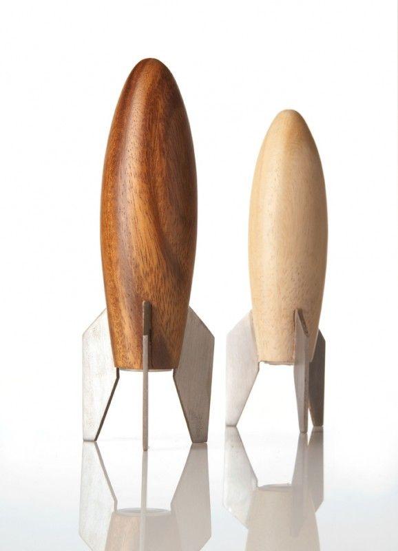 Picture of Wooden Rocket Salt & Pepper