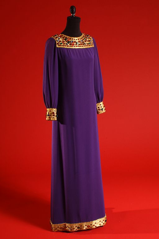 Yves Saint Laurent, Evening dress, Purple shot silk crepe, gold beads, multicolor jewels, Fall 1966, USA The Museum at FIT, 86.7.1 / Gift of Mary McFadden