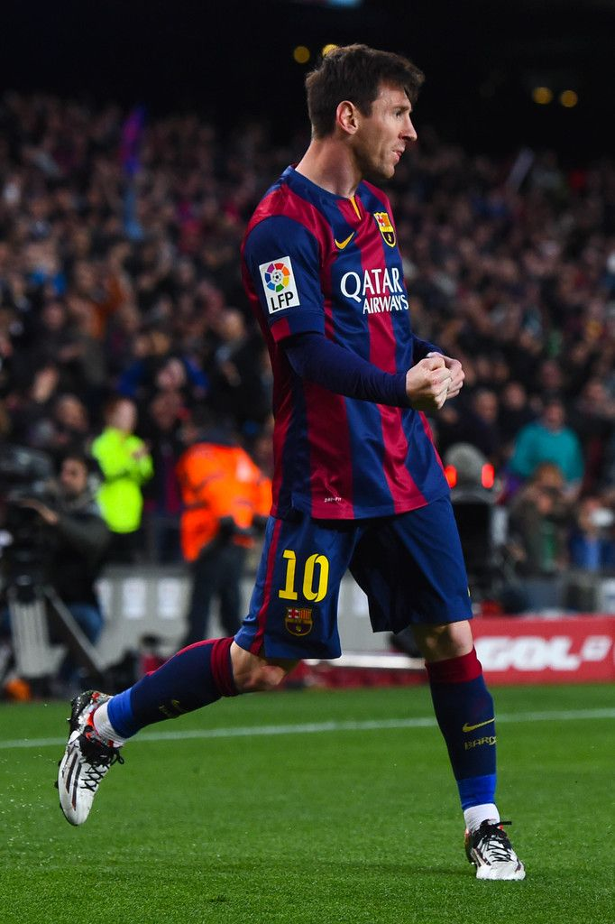 Lionel Messi of FC Barcelona celebrates after scoring the opening goal during the La Liga match between FC Barcelona and UD Almeria at Camp Nou on April 8, 2015 in Barcelona, Catalonia.