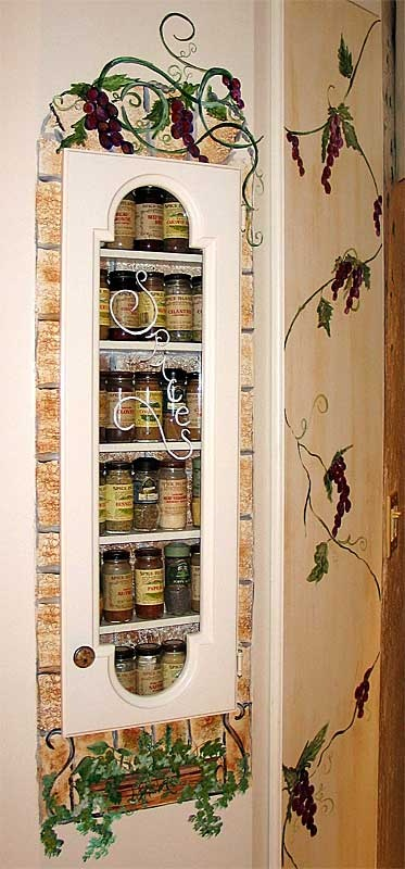 Image Detail For SPICE RACK Hand Painted Faux Brick Border Grape Vines