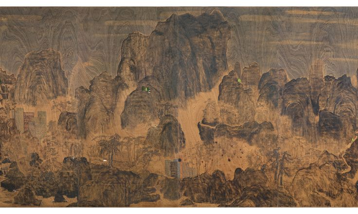 Lam Tung Pang, From time to time, 2012, Ink, acrylics, charcoal and plastic models on plywood, 245H x 488cm, Courtesy the artist and Prudential Eye Awards