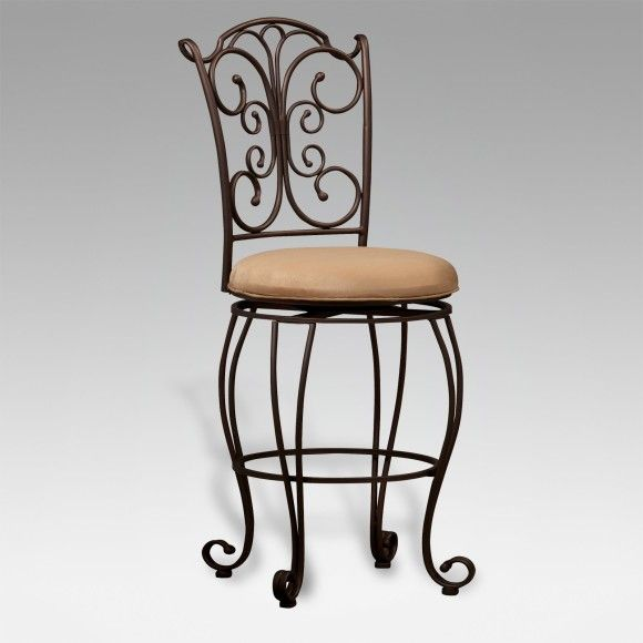 Furniture. Black Top Grain Leather Seat Bar Stool With Wrought ...