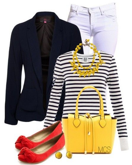 The Striped Sweater and Flat for Spring 2014 Outfit Ideas. I have some orange shoes and a yellow hand bag. Need the necklace.