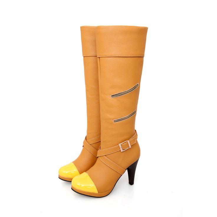 Большой шкаф горячие мода сексуальный черный желтый высокие каблуки женщин колено высокие сапоги женская обувь A580-1 пряжки большой размер 4 12 33 47