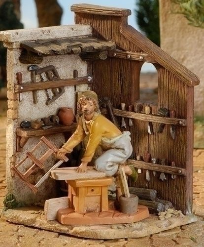 "Fontanini 5 ""Carpintero la tienda de Natividad Village edificio"
