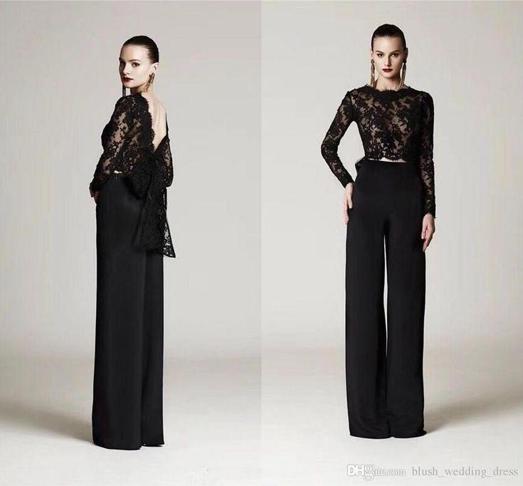 Two Pieces Black Lace Top Formal Pant Suits With Big Bow Long Sleeves Arabic Eve…