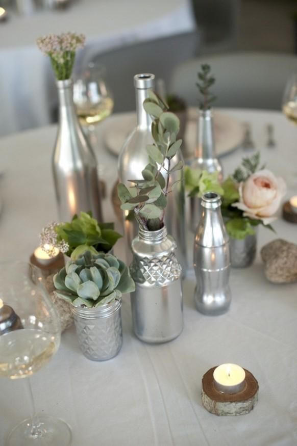 Silver spray paint, wine bottle or other small vase. add purple/blue flowers. Really pretty.