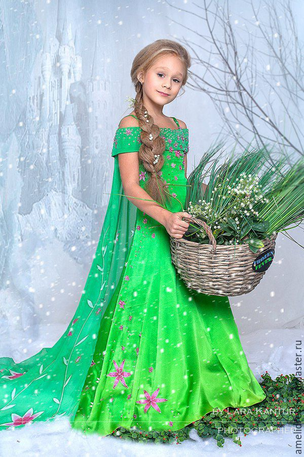 Dress for girl | Карнавальный костюм Эльза. - зеленый, цветочный, Эльза, новогодний костюм, сказка, шёлк натуральный