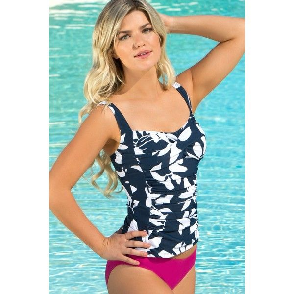 Hapari Crew Slimming Tankini Top ($79) ❤ liked on Polyvore featuring swimwear, bikinis, bikini tops, navy, tankini tops, tankini tops swimwear, scrunch bikini, slimming tankinis and strappy bikini top