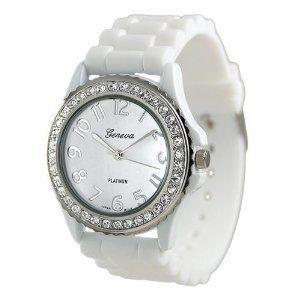 Geneva Platinum CZ: Large Faces, Cz Accent, Woman Watches, Platinum Cz, Accent Silicone, Geneva Platinum, Women'S Watches, Silicone Link, Link Watches