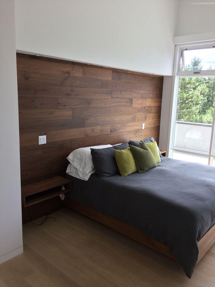 Custom hanging walnut nightstands custom walnut bed