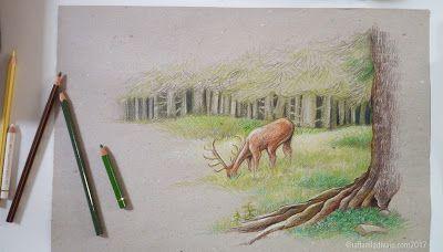 raffaelladivaio*illustrazione e creatività: PASSI NEL BOSCO BOSCO (in lento avanzare) matite e pastelli a olio su carta riciclata grigia -colori in corso- cm. 28x42 ©raffaelladivaio.com2017