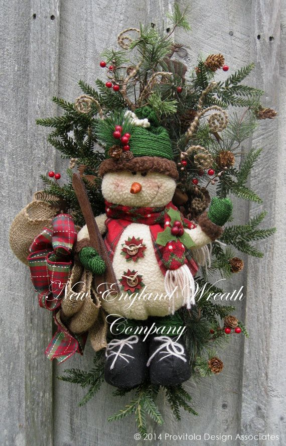 Christmas Wreath, Holiday Wreath, Christmas Swag, Skiing, Woodland, Designer Teardrop, Snowman Wreath, Whimsical Christmas