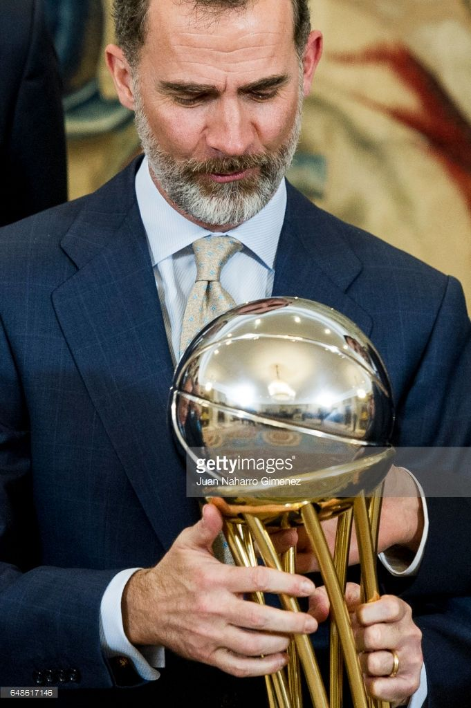 King Felipe VI of Spain receives the basketball team of Real Madrid C.F., champion of the 81st edition of the S.M. the King at Zarzuela Palace on March 6, 2017 in Madrid, Spain.