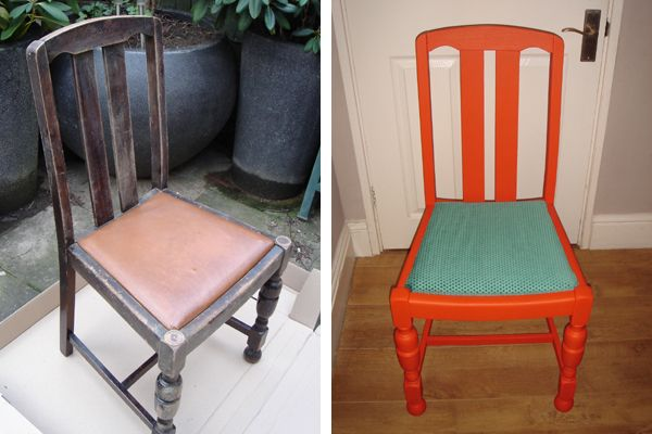 Dulux designer Simon Gibbs gave this dining chair a whole new lease of life thanks to a fresh lick of paint and reupholstering the seat.  Check out his window display over at the Dulux Decorator Centre in Potters Bar.  http://simon.duluxdesignservice.co.uk/uncategorized/866/