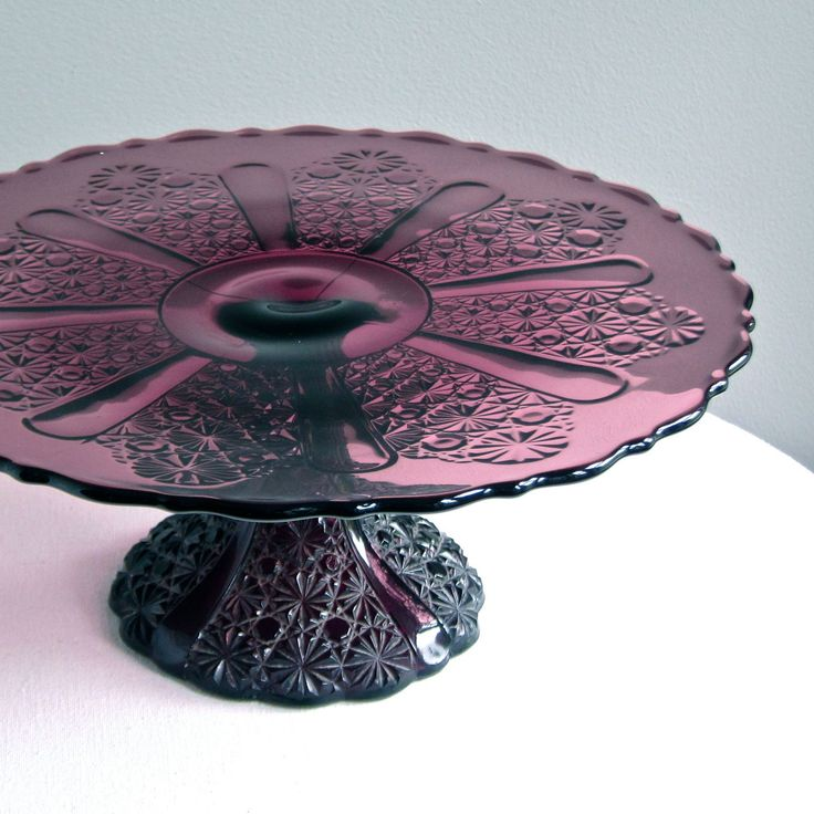 Vintage Amethyst Glass Cake Stand Daisy and by BarkingSandsVintage, $285.00