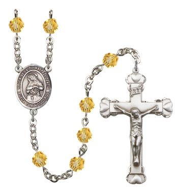 Virgen de la Divina Providencia Silver-Plated Rosary with 6mm Topaz Fire Polished beads