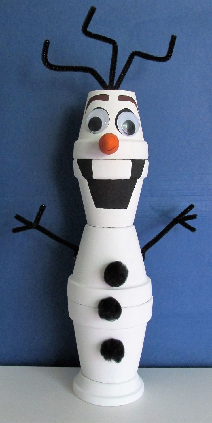 Hand-Painted Clay Pot Figurine Shelf Sitter, Olaf from Frozen - www.etsy.com/shop/BrenDecor