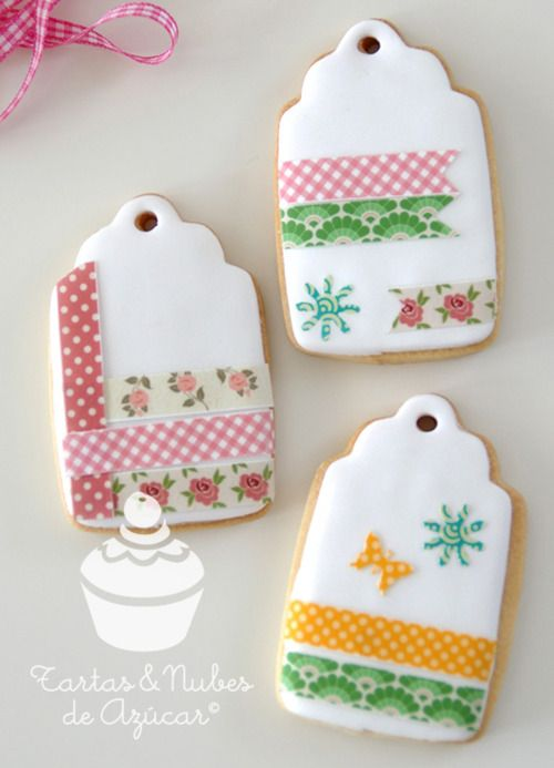 Wasih tape... cookies!!!: Cookies Decor, Tape Gifts, Tags Cookies, Decor Cookies, Tape Cookies, Gifts Tags, Washi Tape, 05 Cookies, Of Washi