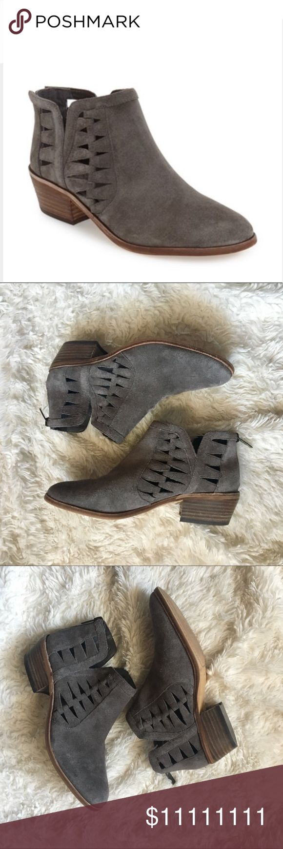 "✨NEW✨Vince Camuto ""Peera"" Booties--Reserved til 5p NWOTGrey Suede Cut-out booties. I got these at a Nordstrom Outlet. They are brand new; but were out on the floor. Small nick on Left shoe. 2"" Heel. Offers Welcome!! Vince Camuto Shoes Ankle Boots & Booties"