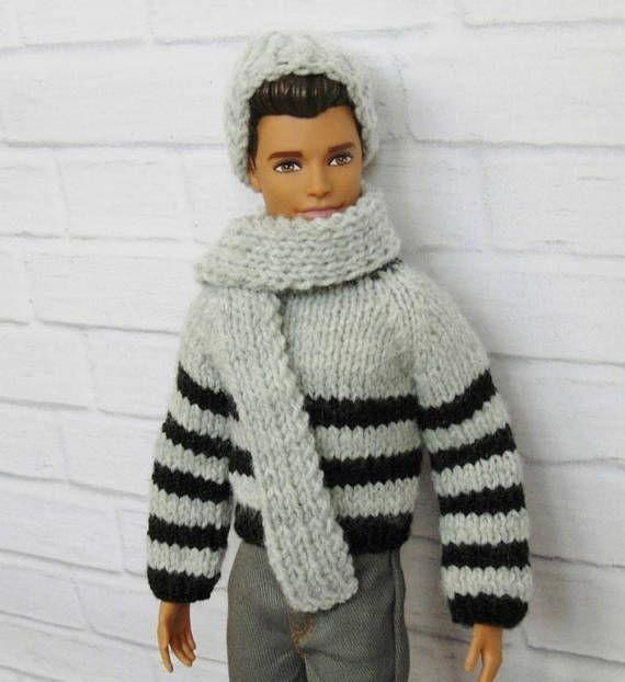 Ken hat and scarf Ken slouchy hat Ken outfit Ken Ken doll
