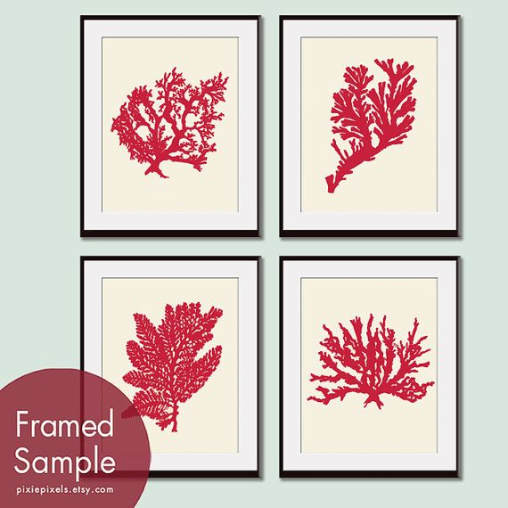Underwater Sea Coral Collection (Series F) -Set of 4 - 11x14 Art Prints (Featured in Apple Red and Soft Cream) on Etsy, $47.85
