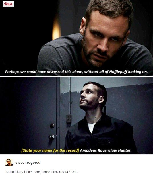 """Actual Harry Potter nerd, Lance Hunter. #Marvel Agents of S.H.I.E.L.D. #AoS #AgentsofSHIELD 2x14 """"Love In The Time Of HYDRA"""" / 3x13 """"Parting Shot"""""""