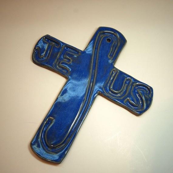 Cross Colbalt Blue Pottery by ButlerPottery.etsy.com on Etsy, 22.00