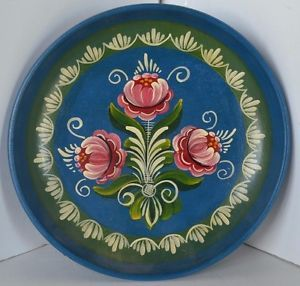 Vintage-Hand-Painted-Vienna-Austria-1970-Plate-Bowl-Wall-WoodFlower-Folk-Art