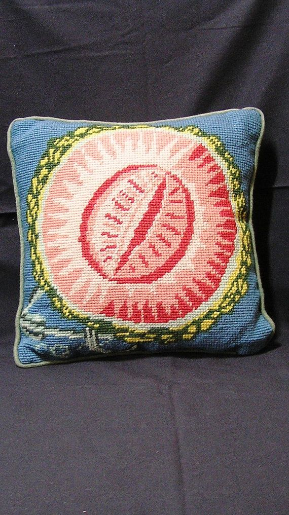 Vintage Needlepoint Watermelon Pillow with by VictorianWardrobe, $10.00