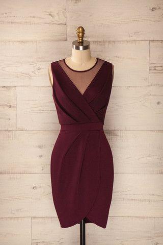 Robe Bordeaux type #fourreau #dentelle