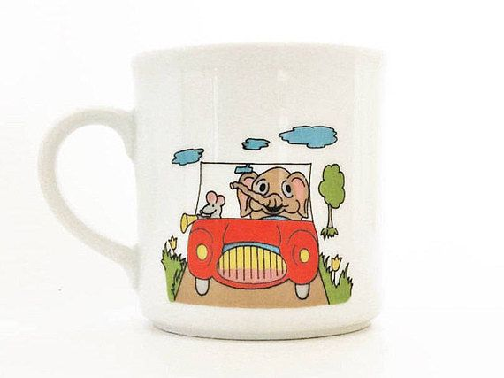 Winterling kids cup cute elephant and mouse in car vintage