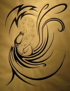Awesome Tribal Aquarius Tattoo