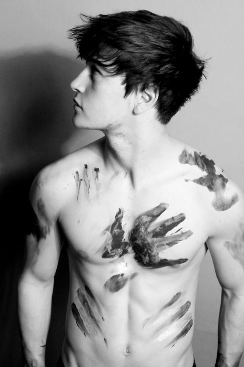 This is what he looked like after I was finished with him. #boys: Hands Prints, Handprint, Mud, Beautiful Men, Body Paintings, Body Art, Beautiful People, Hair, Hot Guys