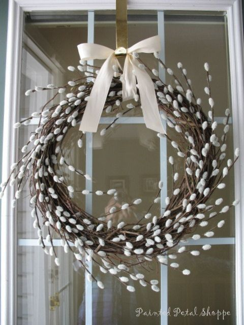 Pussy Willow Wreath/ Rustic Spring Wreath/ by PaintedPetalShoppe