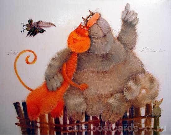 Причудливые коты художника Валерия Хлебникова