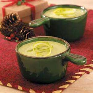 Cheesy Cream of Asparagus Soup...I would substitute the frozen for fresh, but frozen works great when not in season #tasteofhome