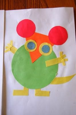 """circle shape: big and little:Mice made out of shapes to go along with """"Mouse Shapes"""" by Ellen Stoll Walsh"""