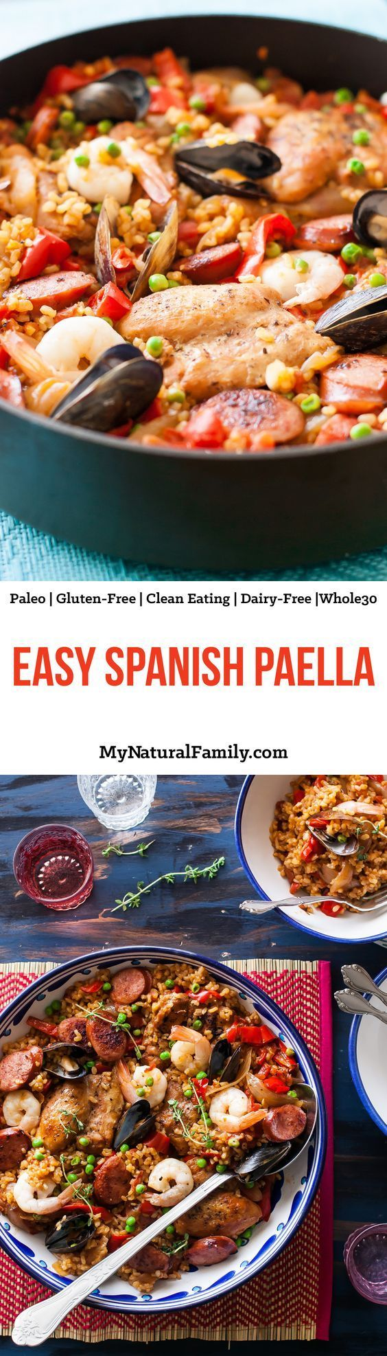Easy Spanish Paella Recipe {Paleo, Gluten-Free, Clean Eating, Dairy-Free, Whole30} - this recipe is easy to adjust to different diets and add or leave out meat or seafood. I love making it for big groups of people because it has something everyone likes and looks so complicated and fancy, but it's really easy.