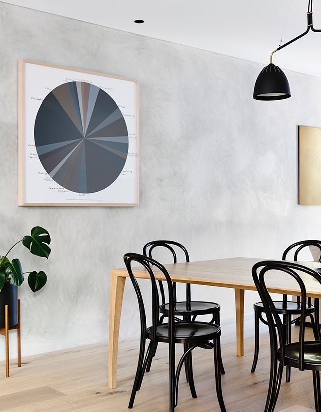 modern dining room with bentwood chairs
