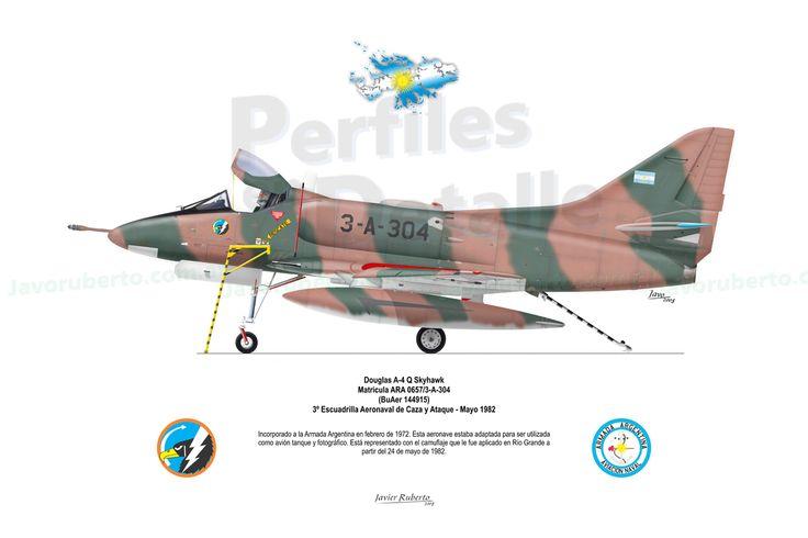 Douglas A-4 Q Skyhawk Matrícula ARA 0657/3-A-304 (BuAer 144915) 3º Escuadrilla Aeronaval de Caza y Ataque – Mayo 1982