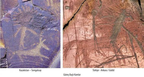 Kazakistan ve Ankara'da güneş başlı kamlar.