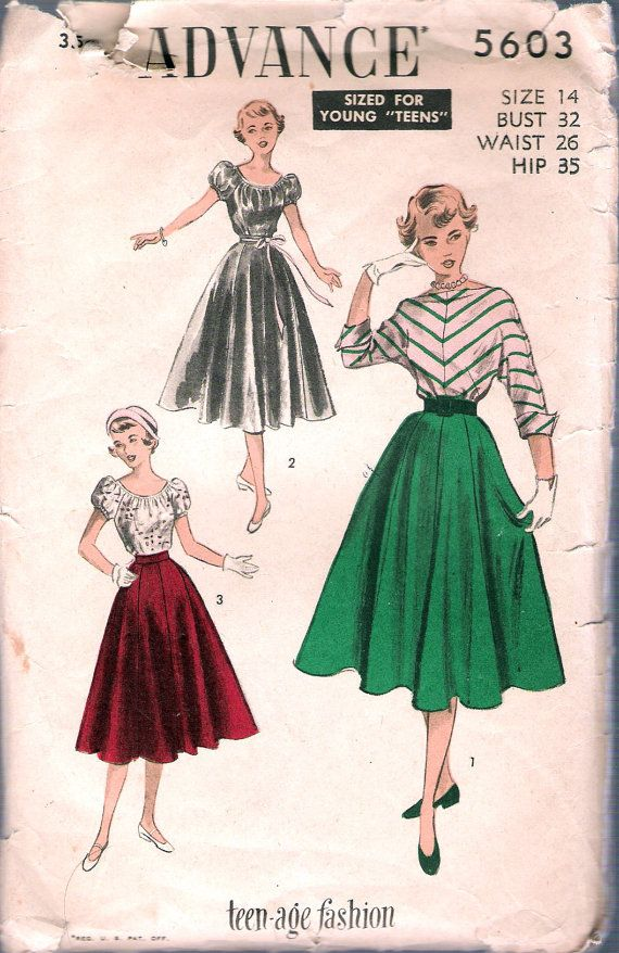 Vintage 1950's  Advance 5603 Teen Fashion Blouse by Recycledelic1