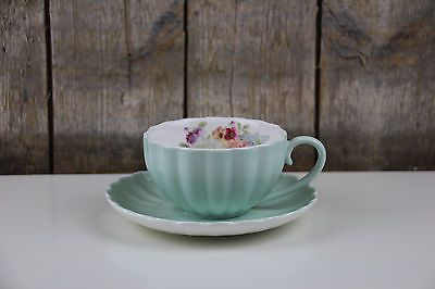 Easy Life - Jardin Royal - Tee / Cappuccino Tasse mit Unterteller - Blumen mint