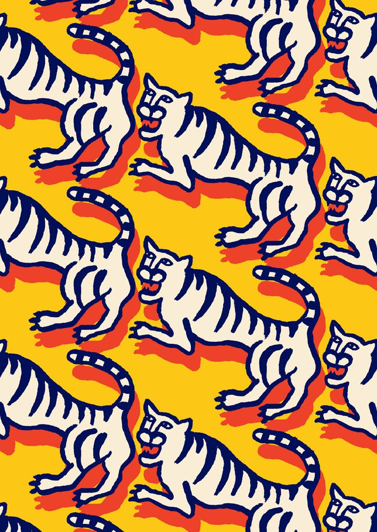 This design is balanced because of the repetition of the tiger, there is not direct focal point in it. The design is also on a vertical axis.