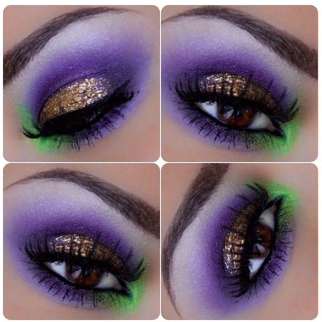 Purple & Green Eye Makeup