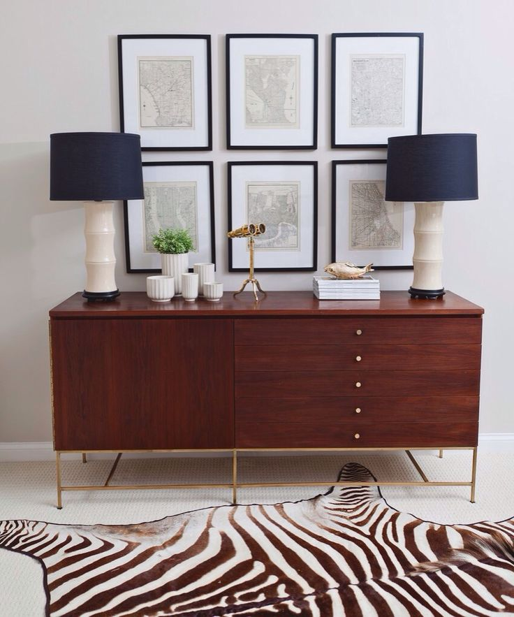 Interior Design: Mid Century Style Teak Sideboard Console With Brass Legs,  Bamboo Table Lamps Part 75