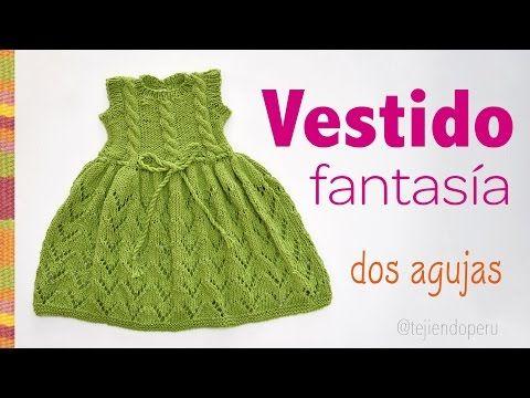 Vestido fantasía con trenzas tejido en dos agujas para niñas - YouTube