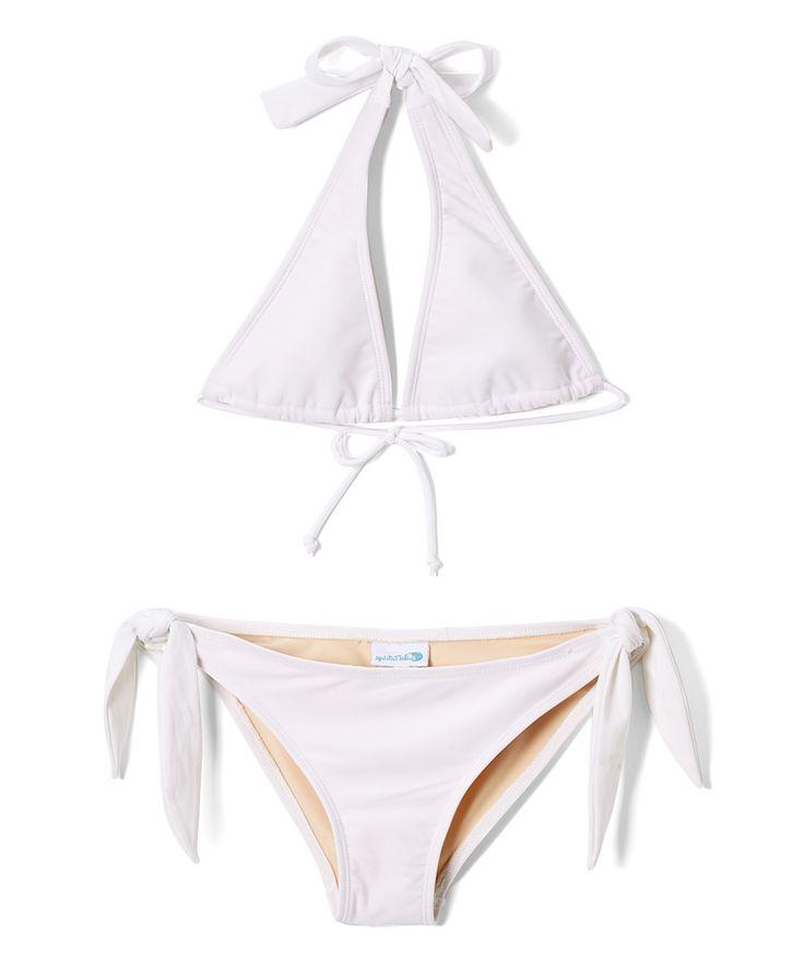 White Junior Halter Bikini Top & Ella Bikini Bottoms - Girls
